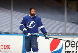 Patrick Maroon of the Tampa Bay Lightning warms up before Game Two of...  News Photo - Getty Images