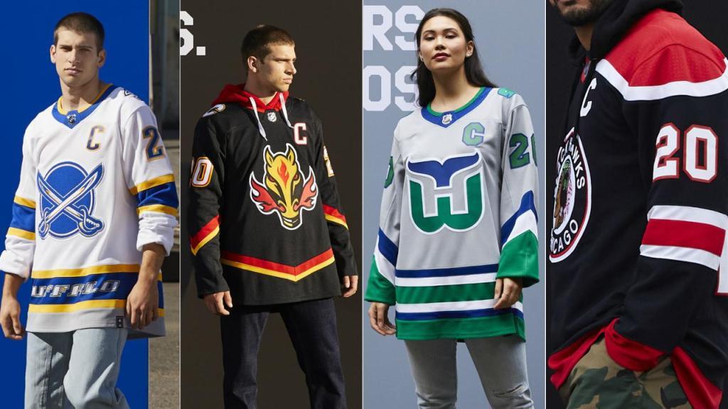 NHL Reverse Retro Jerseys - Buffalo, Calgary, Carolina, & Chicago
