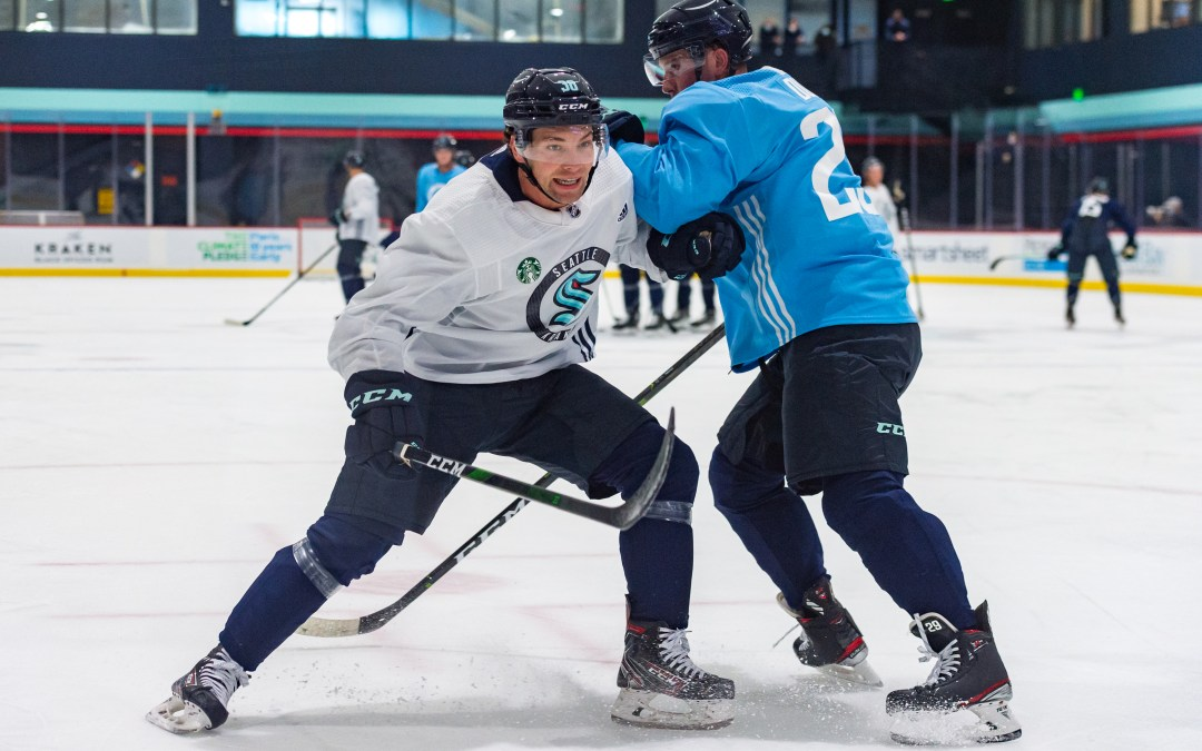 Kraken Training Camp Day 2: Getting physical, some lines emerge, checking in with prospect Ryker Evans